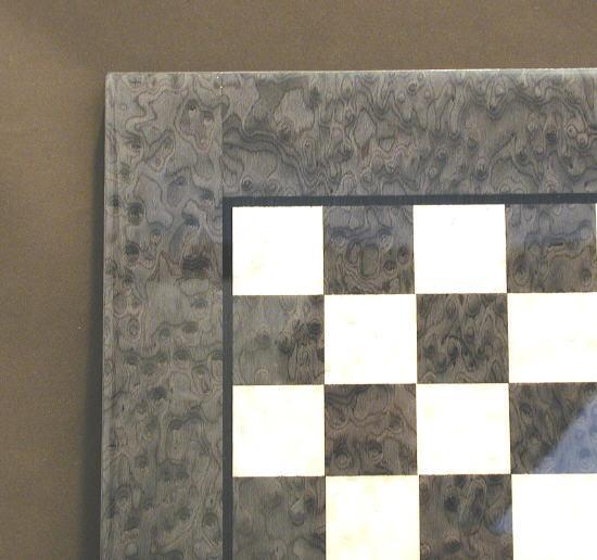 Ital Fama 513 15 in. Greyand Ivory Burl Chess Board