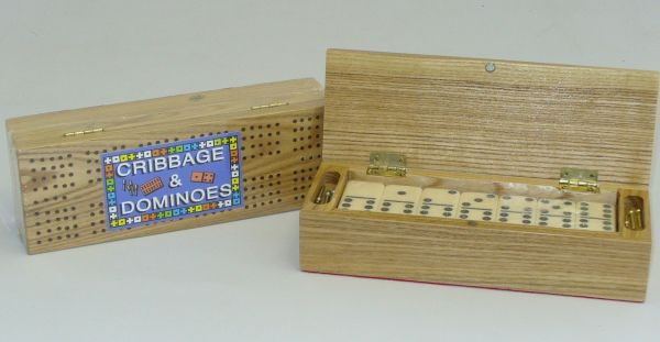 Square Root SQ28 Cribbage Box with Double 6 Dominoes