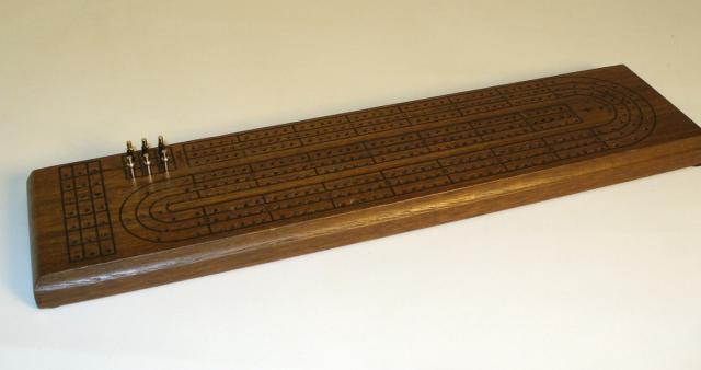 WWI 33503 3 Track Walnut Stain Cribbage