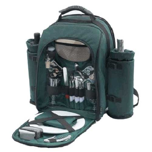 Picnic Gift 1030GR Alpine Two Person Picnic Pack with 2 Wine Totes Green