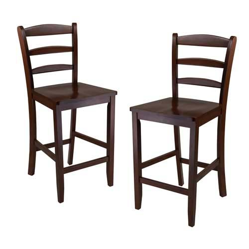 Winsome Trading 94244 Set of 2  24 in. Counter Ladder Back Stool