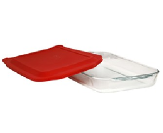 Pyrex 1075424 15 in. X 10 in. Rectangular Baking Dish with Red Cover
