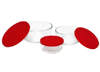 Pyrex 1075458 6pc Storage Set with Red Covers