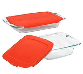 Pyrex 1091675 Easy Grab 4pc Bake Set with Red Covers