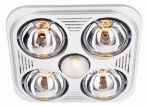 Image of Aero Pure Bathroom Fans A716R W Aero Pure Fan- A716R White-4 Bulb Quiet Bathroom Heater Fan with Light
