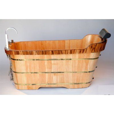 ALFI brand AB1148 AB1148 59'' Free Standing Oak Wood Bath Tub with Chrome Tub Filler - Natural Wood