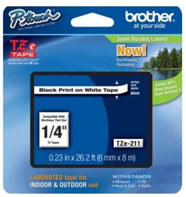 Brother TZE211 TZe Standard Adhesive Laminated Labeling Tape  1/4w  Black on White