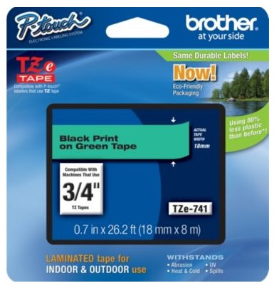 Brother TZE741 TZe Standard Adhesive Laminated Labeling Tape  3/4w  Black on Green
