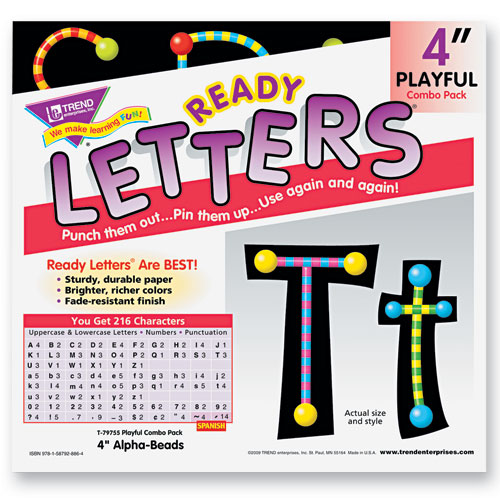 Trend T79755MP Ready Letters Alpha-Beads Letter Combo Pack  Black Multiple Colors  4''h  216/Set