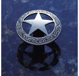 JVJHardware 07218 Lone Star 1.44 in. Diameter Medium Star Knob with Braided Edge - Antique Nickel