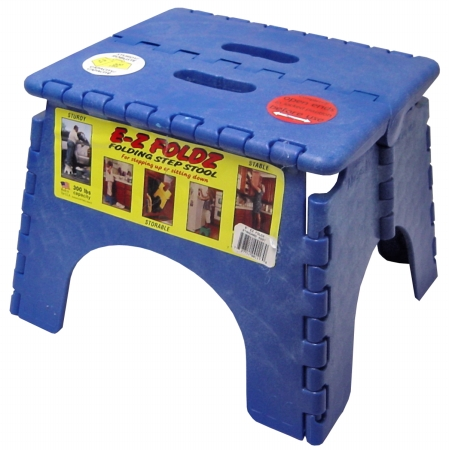 B R Plastics 9in. X 11.5in. Blue EZ Folds Folding Step Stool 1016B