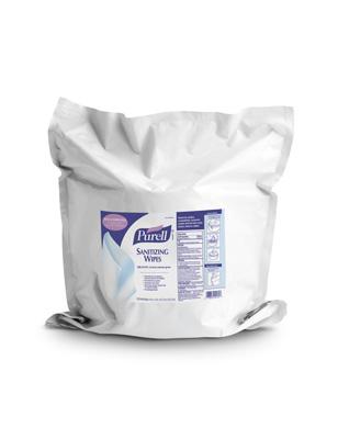 Gojo 911802 Sanitizing Wipes  6 x 8  White  1200/Refill Pouch  2/Carton