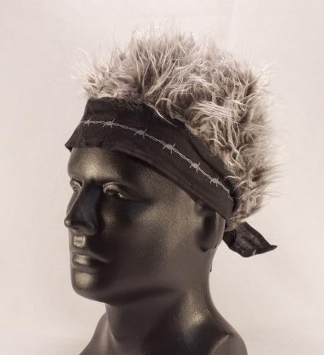 Billy Bob Teeth 11377 Black Barbed Wire Bandana with Gray Hair