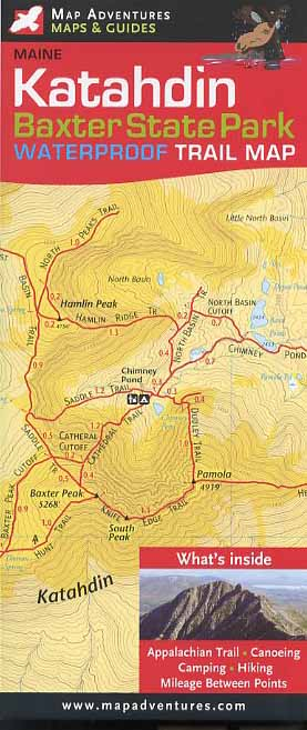 Map Adventures 103088 Baxter and Mt.Katahdin Waterproof Trail Book