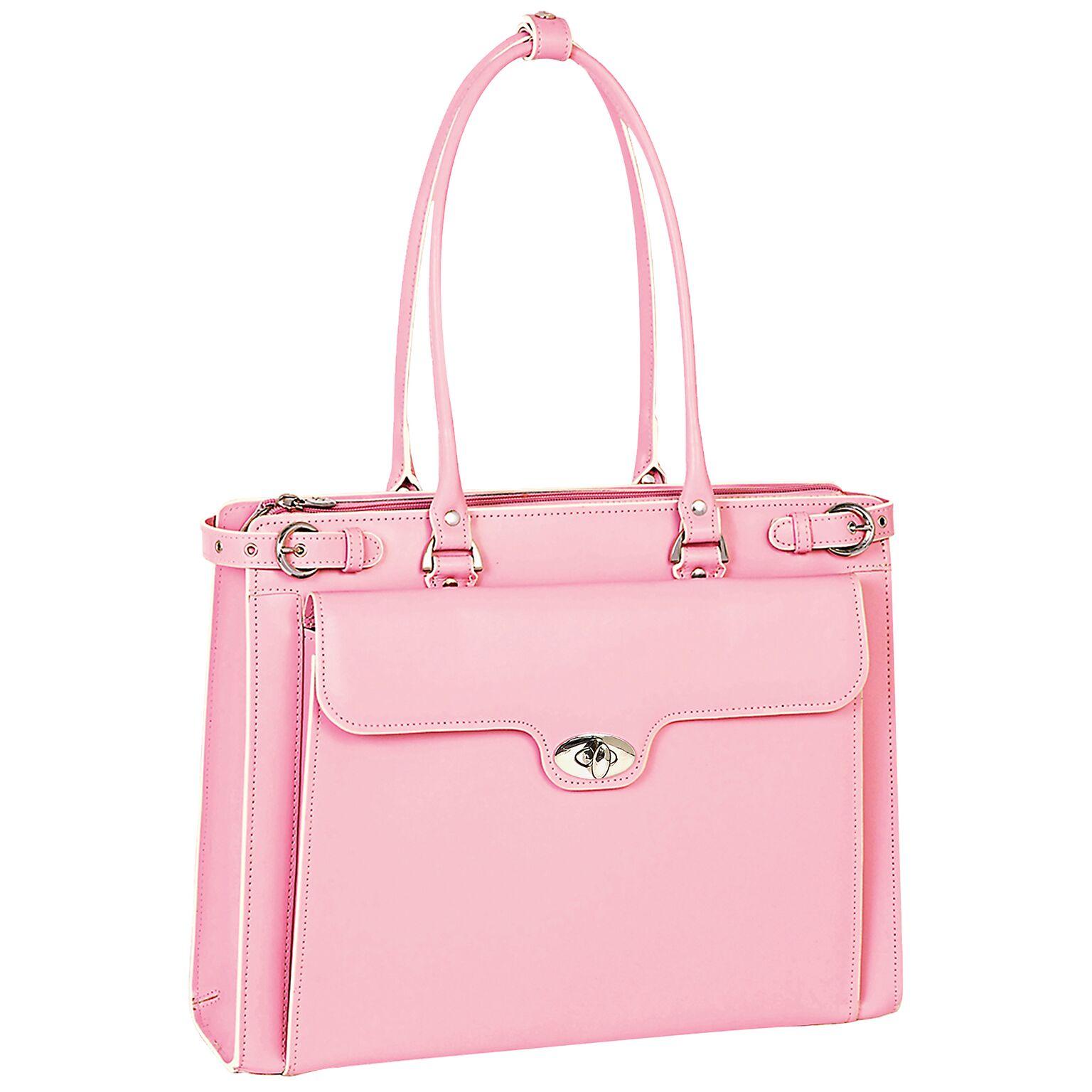McKlein 94839 MCKLEIN WINNETKA 94839 (Pink) Leather Ladies' Briefcase w/ Removable Sleeve - W Series - Italian Leather