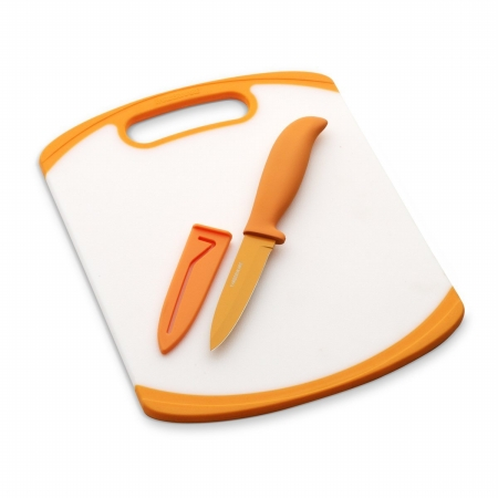 Farberware 5082057 8 in. x 10 in. Poly Board With 3.5in Resin Parer And Sheath - Orange