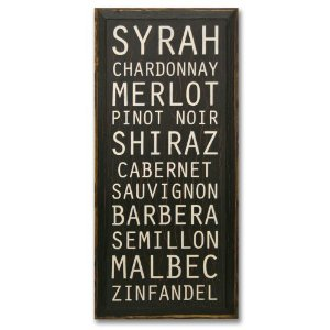 SaltBox Gifts SS36WINE Types Of Wine Sign