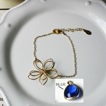 Rebecca FBSGBL Flower Wire Bracelet - Gold-Blue