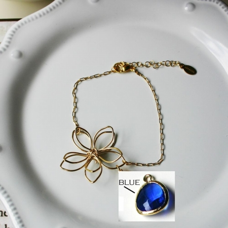 Rebecca FBSGBLT Flower Wire Bracelet - Gold-Blue Topaz