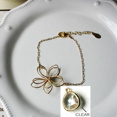 Rebecca FBSGC Flower Wire Bracelet - Gold-Clear