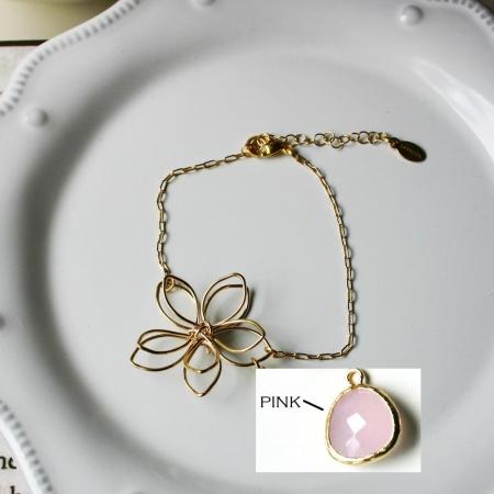 Rebecca FBSGP Flower Wire Bracelet - Gold-Pink