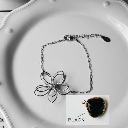 Rebecca FBSSB Flower Wire Bracelet - Silver-Black