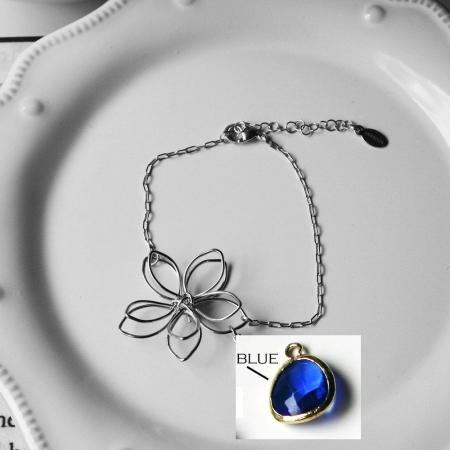 Rebecca FBSSBL Flower Wire Bracelet - Silver-Blue