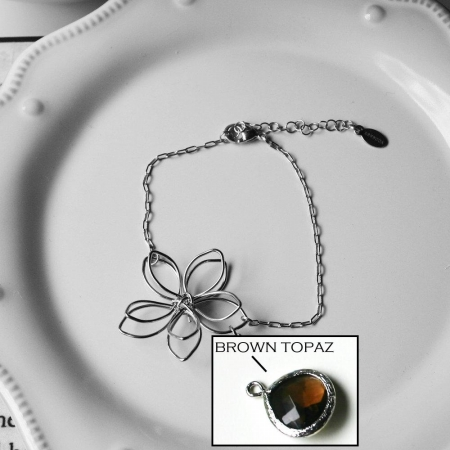 Rebecca FBSSBT Flower Wire Bracelet - Silver-Brown Topaz
