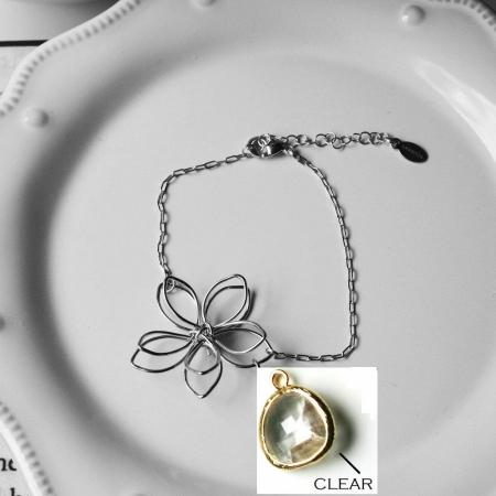 Rebecca FBSSC Flower Wire Bracelet - Silver-Clear