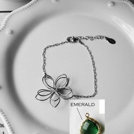 Rebecca FBSSE Flower Wire Bracelet - Silver-Emerald