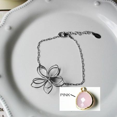 Rebecca FBSSP Flower Wire Bracelet - Silver-Pink