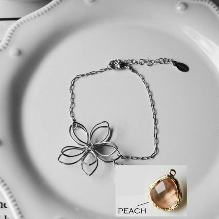 Rebecca FBSSPE Flower Wire Bracelet - Silver-Peach