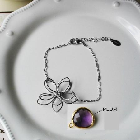 Rebecca FBSSPLU Flower Wire Bracelet - Silver-Plum