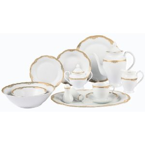 Lorenzo Import Catherine-57 57 Piece Wavy Edge Gold Trim Dinnerware  Service for 8 By Lorren Home Trends