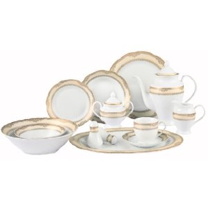 Lorenzo Import Isabella-57 57 Piece Wavy Edge Gold Border Dinnerware  Service for 8 By Lorren Home Trends