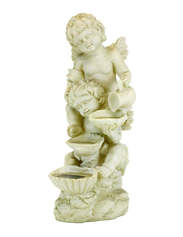 Garden Sun Light F5162 Two Cherubs Synthetic Fountain Solar Light