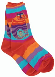 K Bell 86189 Laurel Burch SocksRainbow Cat Multi Wavy Stripe