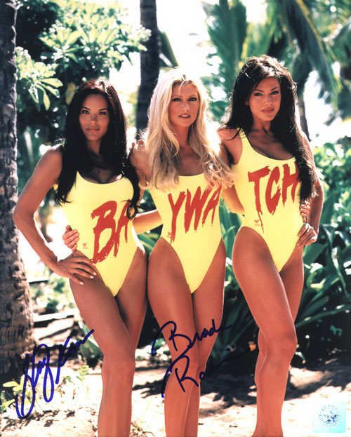 Superstar Greetings SKA-BR-8a Stacy Kamano & Brande Roderick Dual Signed 8X10 Photo - Baywatch Triple Shot