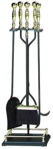 UniFlame T51070PK 5 Pc. Polished Brass-Black Fireset - F-3613