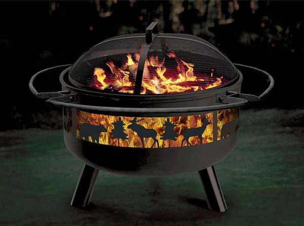 Stone River Gear Wildlife Combo Firepit-Grill Firepit, Firepits, Fire Pit, Outdoor Fireplace, Gas Firepit, Metal Firepit, Stone Firepit