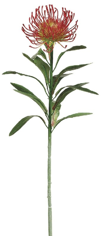 28 Inch Plastic Protea Spray x1 - Flame - Qty of 12