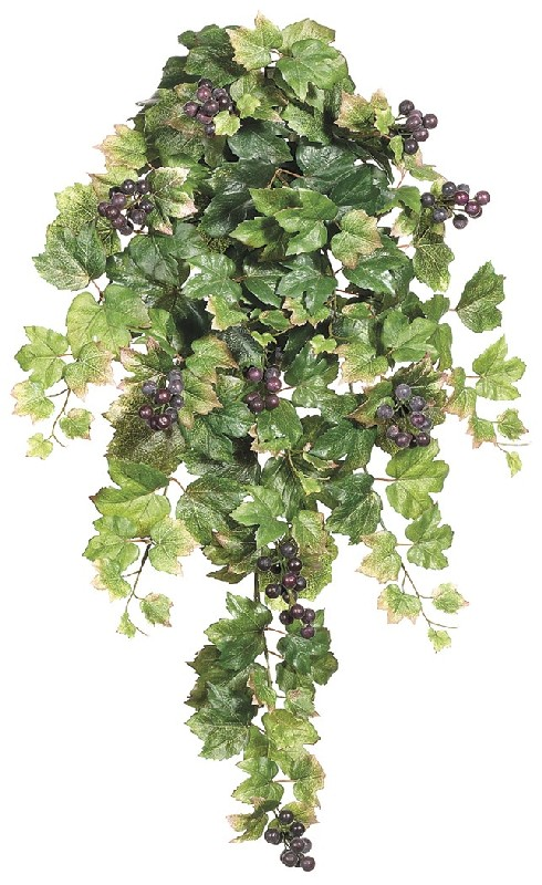 30 Inch Grape Leaf Hanging Bush x9 with Grapes  - Qty of 6