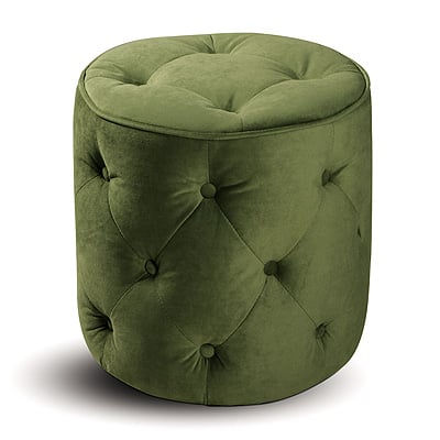 Avenue Six 140023 Curves Tufted Round Ottoman in Spring Gree