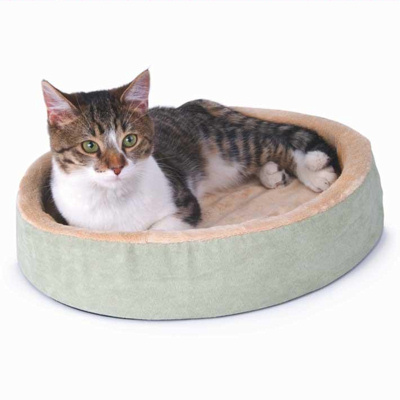 K&H Manufacturing KH3701 Thermo-Kitty Cuddle Up 16Inch Diameter - Mocha-Cream