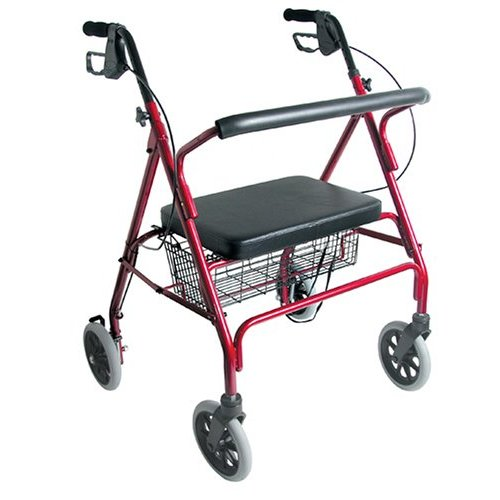 Duro-Med 501-1032-0700 Extra-Wide Heavy-Duty Steel Bariatric Rollator - Burgundy