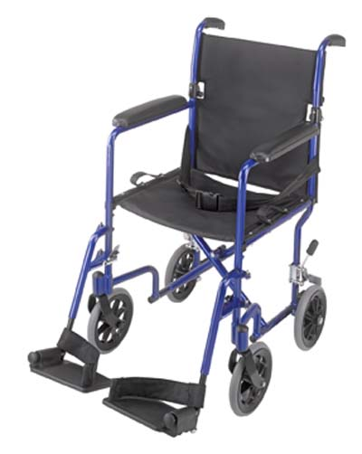 Duro-Med 501-1052-2100 19 Inch Ultra Lightweight Aluminum Transport Chair - Royal Blue