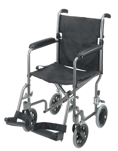 Duro-Med 501-1052-4100 19 Inch Ultra Lightweight Aluminum Transport Chair - Titanium
