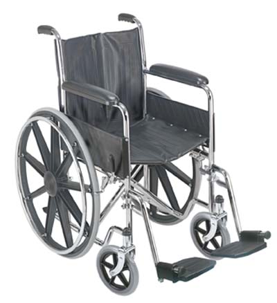 Duro-Med 503-0658-0200 18 Inch Wheelchair With Fixed Armrests And Swing Away Footrest