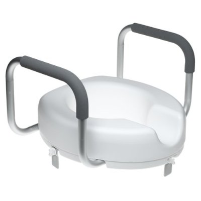Duro-Med 522-1566-1900 Locking Raised Toilet Seat With Arms - White