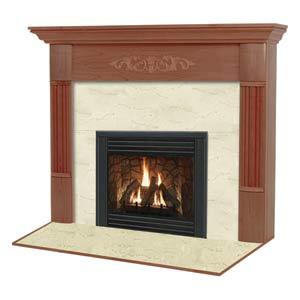 Viceroy R Flush Fireplace Mantel in Medium English Chestnut